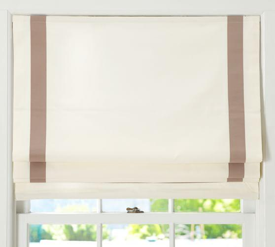 Bordered Cotton Canvas Cordless Roman Shade Roman Shades