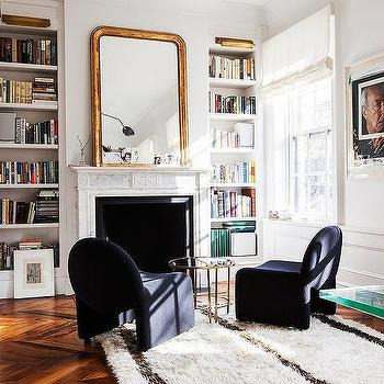 Home Library with Marble Fireplace, Transitional, Den/library/office