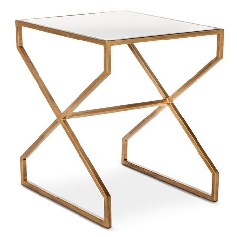 Nate Berkus Brass Metal Accent Table view full size - Silver Geometric Glass Top Accent Table
