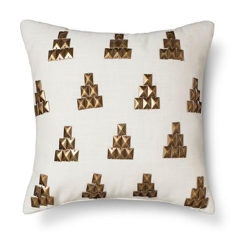 Nate Berkus Bronze Metallic Stud White Pillow Awesome Nate Berkus Decorative Pillows