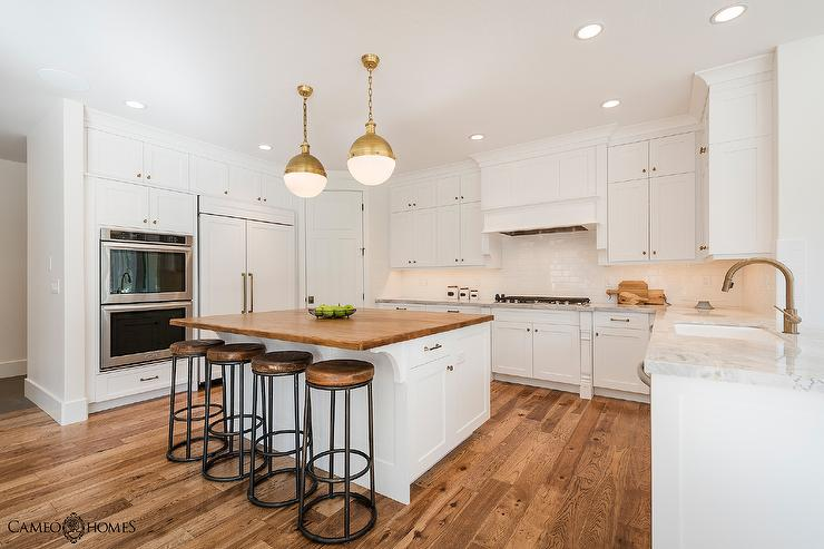 White Kitchen Island with Butcher Block - Transitional - Kitchen