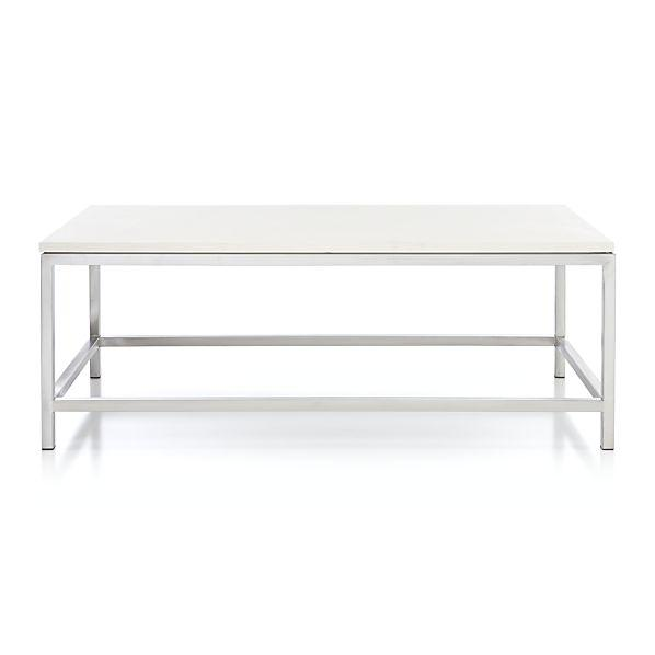Era Limestone Rectangular Silver And White Coffee Table