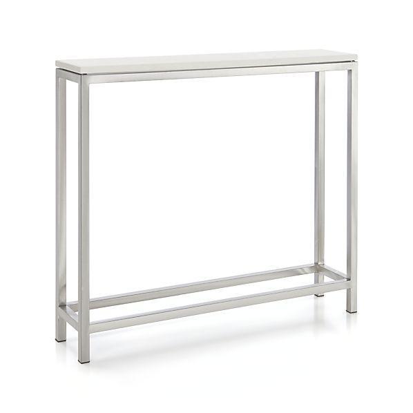 Wonderful Era Limestone Silver And White Console Table