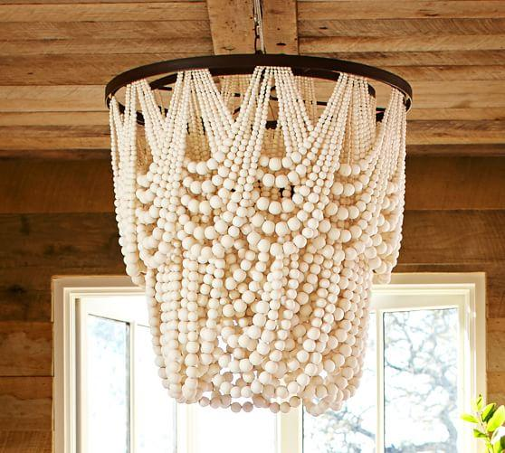 Wooden Bead Chandelier Kitchen