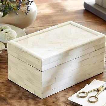 Ivory Chevron Bone Box