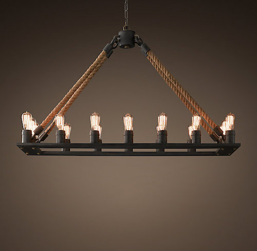 Restoration Hardware Rope Filament Rectangular Chandelier Look for Less