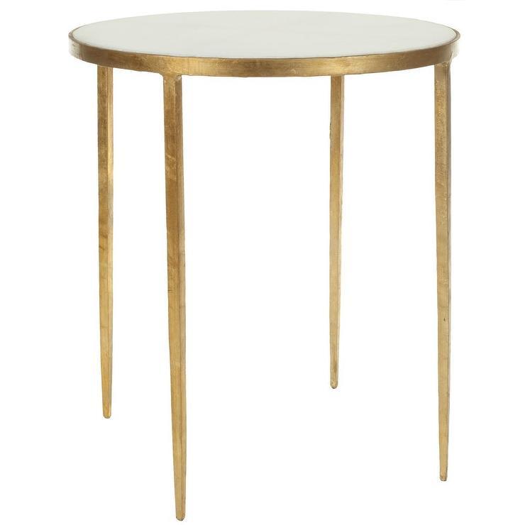 safavieh hidden treasures white granite brass accent table. Black Bedroom Furniture Sets. Home Design Ideas