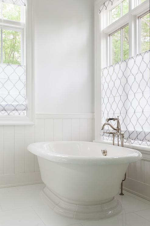 Arabesque window treatments transitional bathroom for Blinds bathroom window
