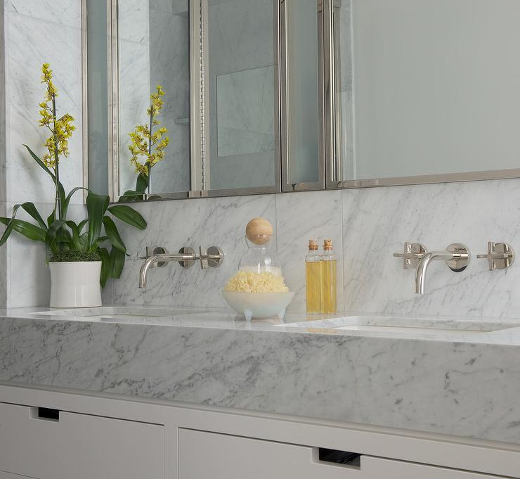 Bathroom vanity with thick marble countertop for Wall mounted bathroom countertop