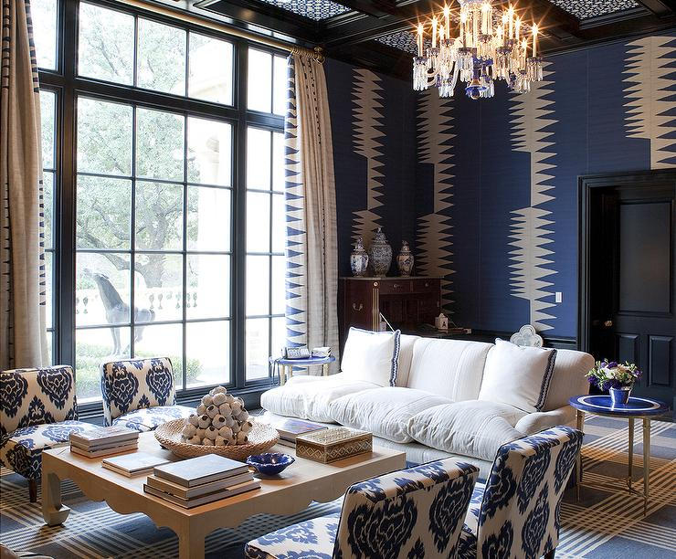 Black White Blue Living Room