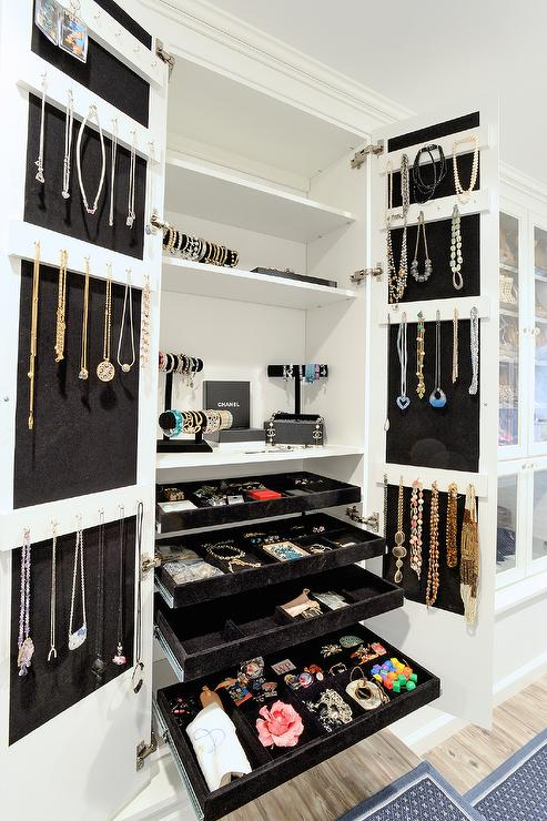 Jewelry Cabinet With Pull Out Jewelry Trays Contemporary Closet