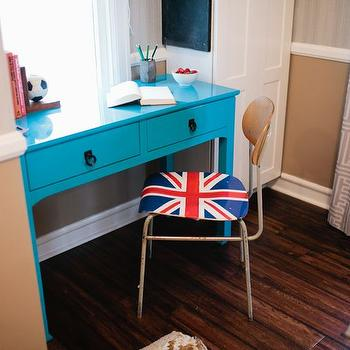 Turquoise Desk with Ring Pulls, Transitional, Boy's Room