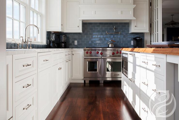 blue kitchen subway tiles transitional kitchen