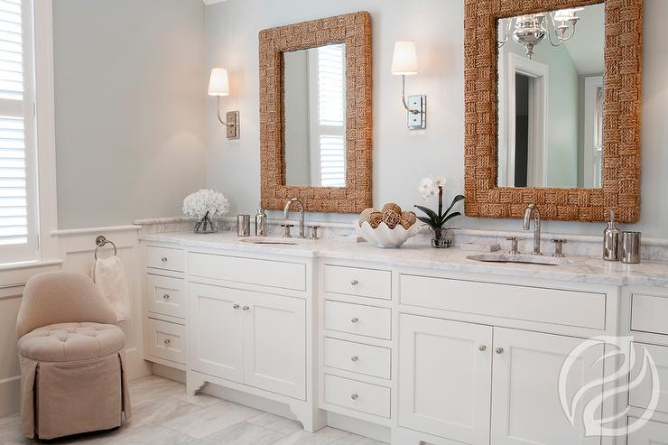 Master Bathroom Features A Custom Double Vanity Topped With White Marble  Framing Oval Sinks And Gooseneck Faucets Under His And Her Woven Rope Vanity  ...
