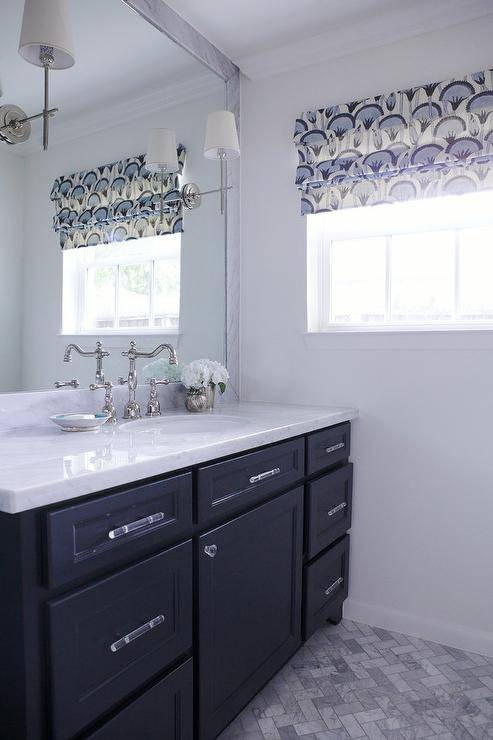 Dark Blue Bathroom Vanity Transitional Bathroom