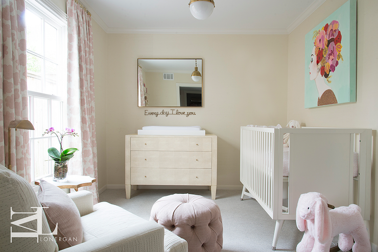 Cream And Pink Nursery Transitional Nursery