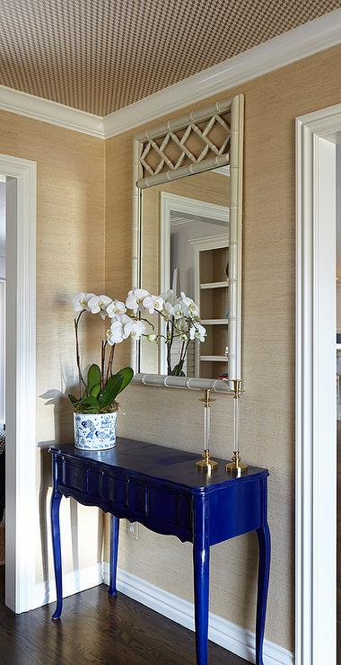 Foyer Ceiling Blue : Blue lacquered console table transitional entrance foyer