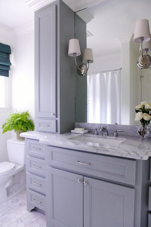 Gray bathroom vanity with gray marble countertop for Grey bathroom cupboard