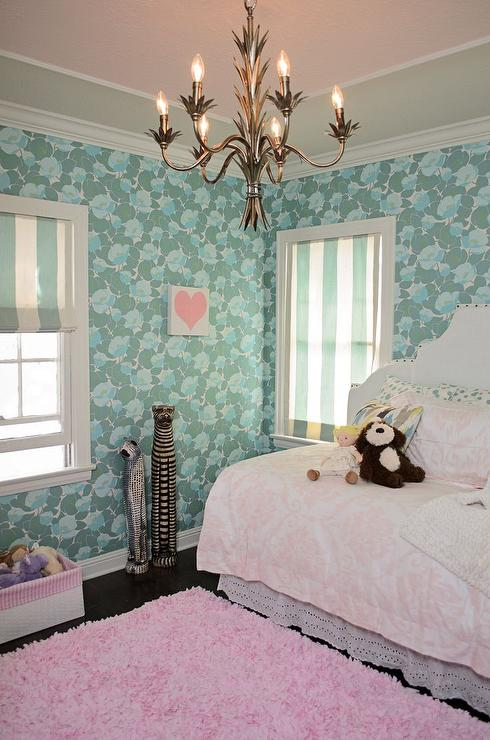 Pink and turquoise girls bedrooms design ideas - Roman shades for kids room ...