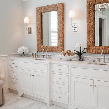 Bathroom with Rope Vanity Mirrors. His And Her Mirrors Design Ideas