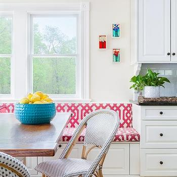 Red Trellis Banquette Cushions
