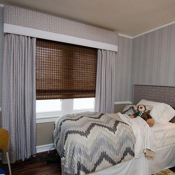 Grey Cornice Box and Curtains, Transitional, Boy's Room