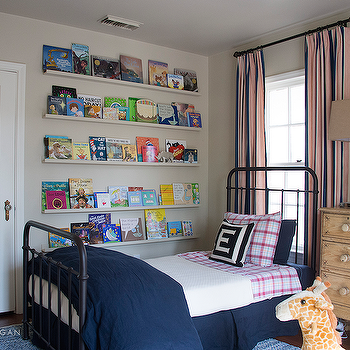 Kids Room with Stacked Book Ledges, Transitional, Boy's Room