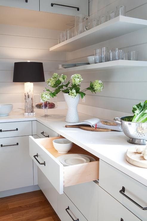 White Wood Paneling In Kitchen