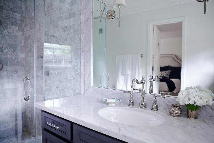 Blue Vanity White Marble Top Design Ideas