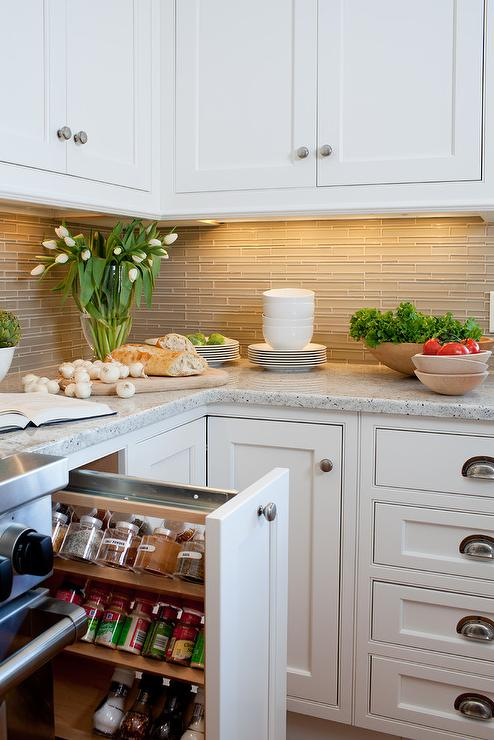 Corner Cabinet with Pull Out Rotating Pot and Pan Shelves ...