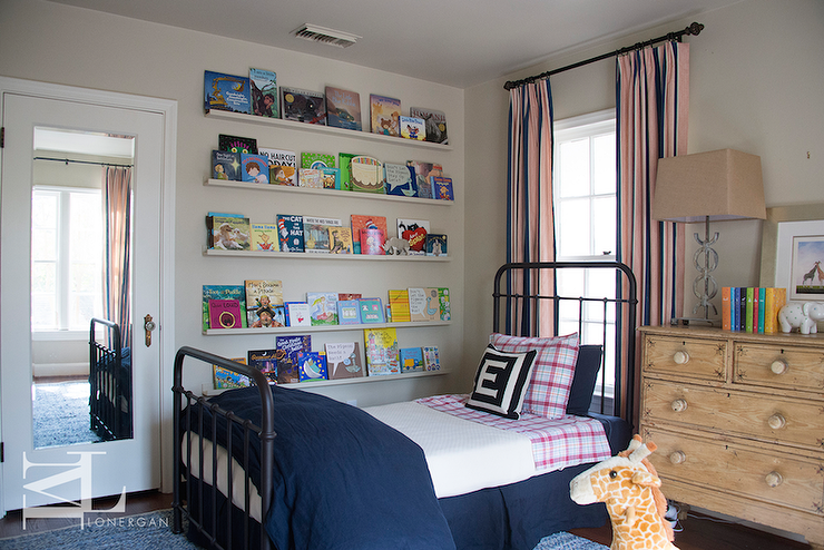 Kids Room With Stacked Book Ledges Transitional Boy S Room