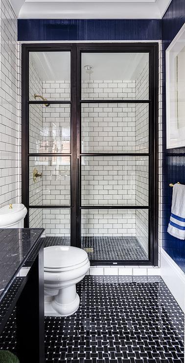 Tile Framed Bathroom Mirror: Bathroom With Black Basket Wave Tile Floor