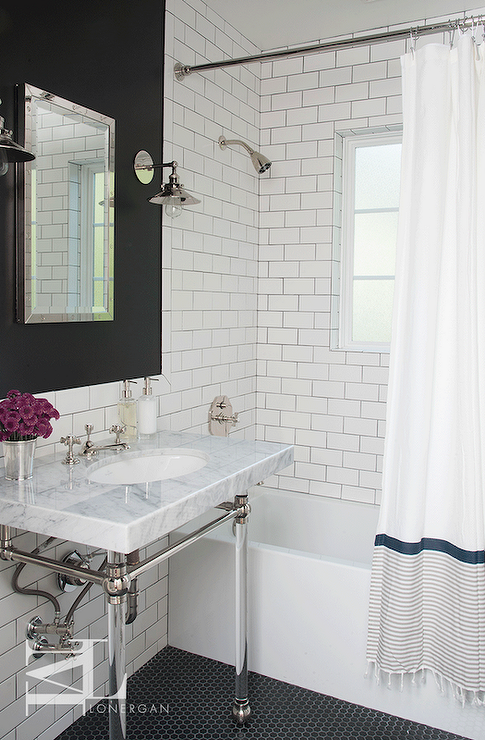 Glass front linen cabinets transitional bathroom - White subway tile with black grout bathroom ...