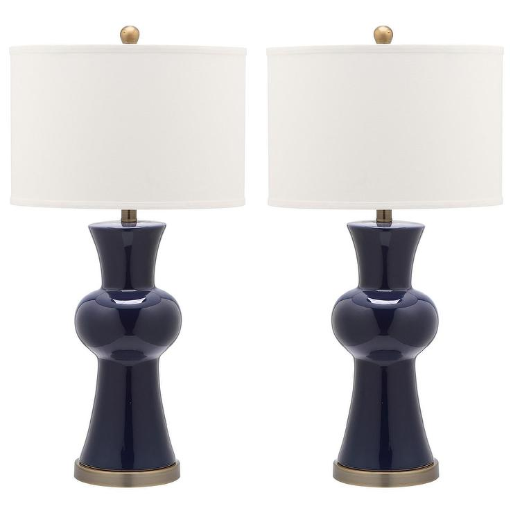 Navy Blue Table Lamps: Lola Navy Blue Column Table Lamp view full size,Lighting