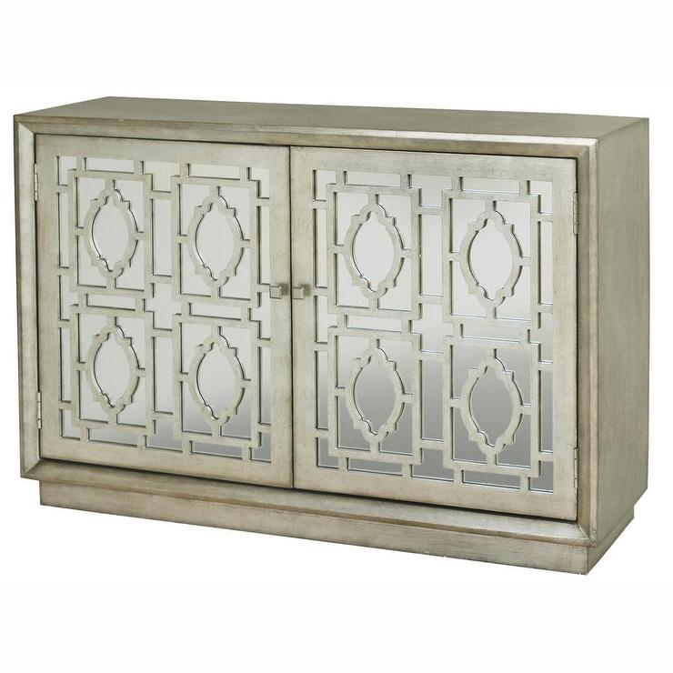 Hand Painted Distressed Silver Leaf Mirrored Finish Accent Chest