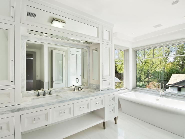 Washstand With Rectangular Glass Hardware Transitional Bathroom