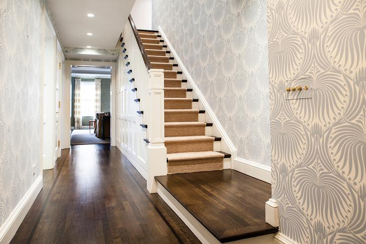Elegant Foyer With Farrow And Ball Lotus Wallpaper