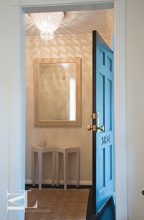 Blue Foyer Door : Blue foyer with door and wainscoting transitional