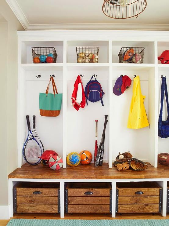 Mudroom Storage Baskets : Industrial bins under mudroom bench cottage laundry room
