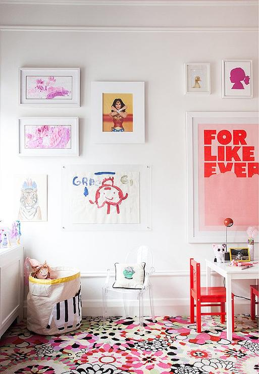 Kids Bedroom Art kids room art wall - transitional - girl's room