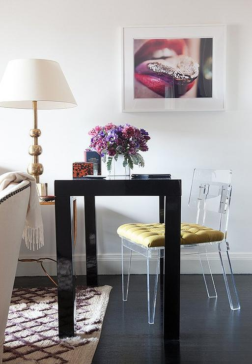 Black Parsons Desk With Lucite Chair