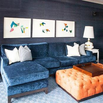 Good Blue Velvet Sofa With Chaise Lounge With Orange Tufted Ottoman