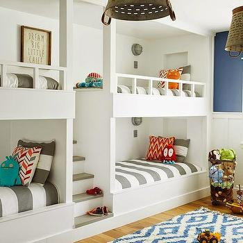 Built In Steps Between Bunk Beds, Cottage, Boy's Room