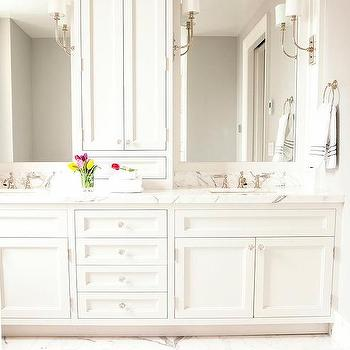 cabinet between vanity sinks design ideas