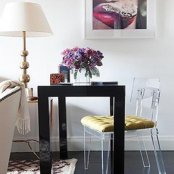 Black Parsons Desk With Lucite Chair View Full Size Living Room