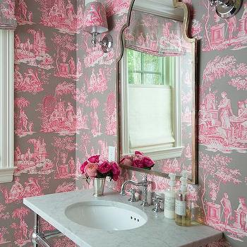 Pink And Brown Toile Wallpaper
