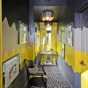 Yellow And Gray Hallway Design Ideas