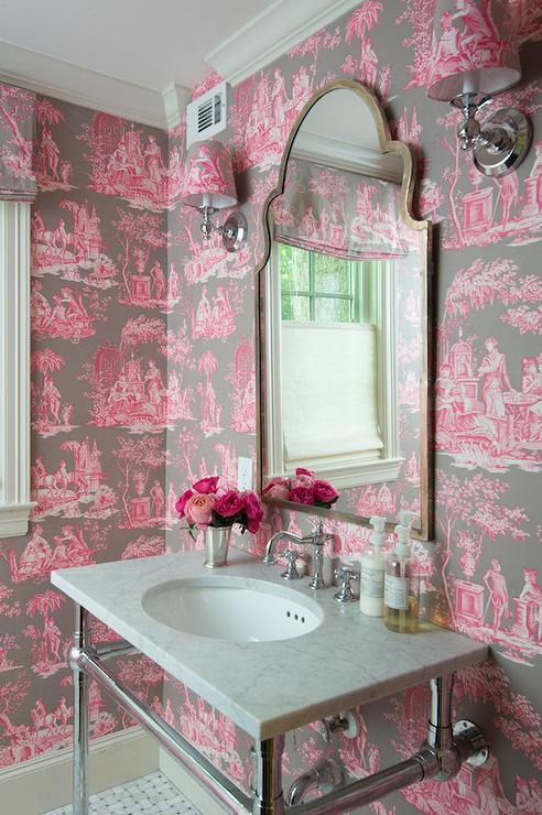 Pink and brown toile wallpaper french bathroom for Pink and brown bathroom ideas