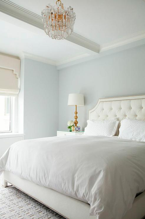 White Tufted Headboard With Nailhead Trim Transitional