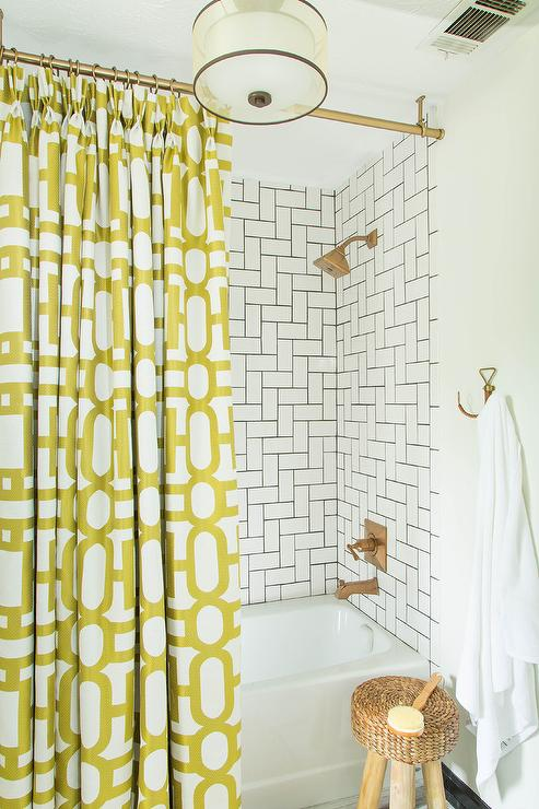 Bathroom With Yellow Shower Curtain